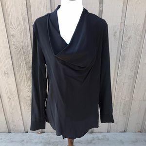 AllSaints Silk Zipper Blouse Rina Shirt